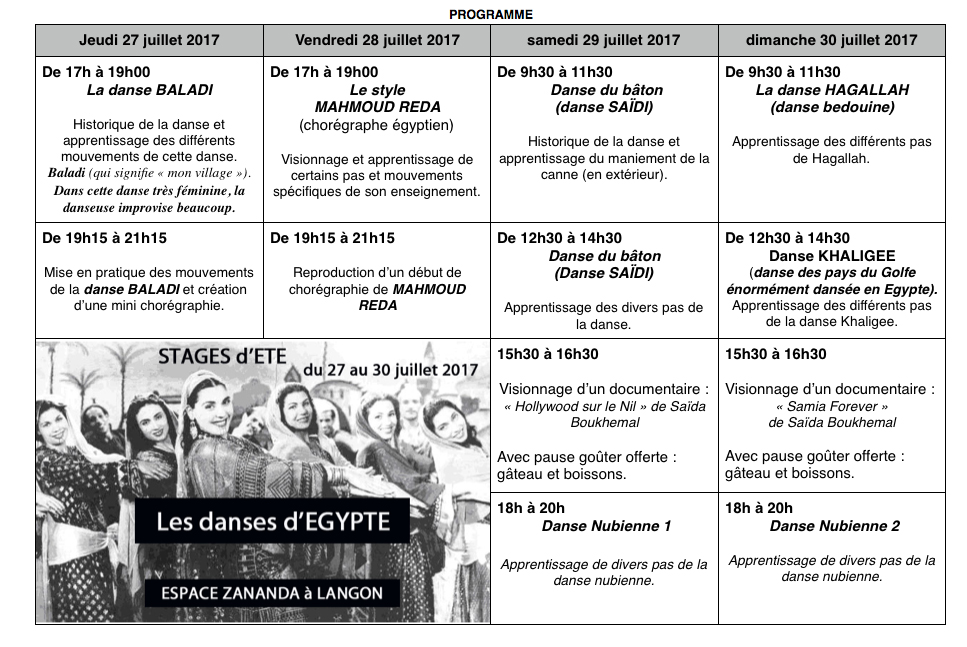 Programme stage d' ETE 2017 EGYPTE